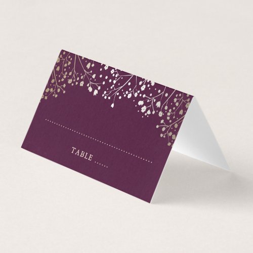 Baby&#39&#x3B;s Breath Plum and Gold Wedding Place Card