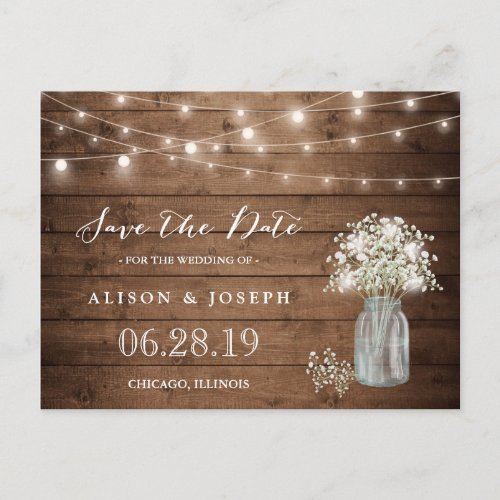 Baby&#39&#x3B;s Breath Rustic String Lights Save the Date Announcement Postcard