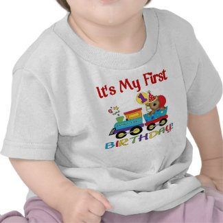 Baby's first birthday train tshirt