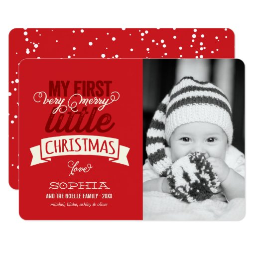 Babys First Merry Little Christmas Photo Card Zazzle