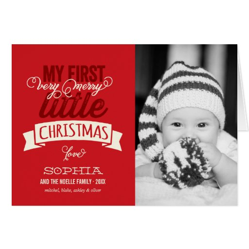 Babys First Merry Little Christmas Photo Greeting Card