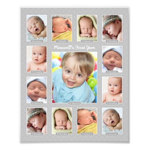 Babys First Year Photo Keepsake Collage Print Zazzle