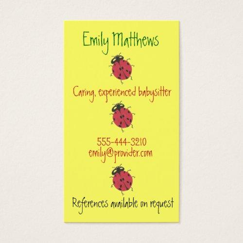 Babysitting business cards - little ladybugs