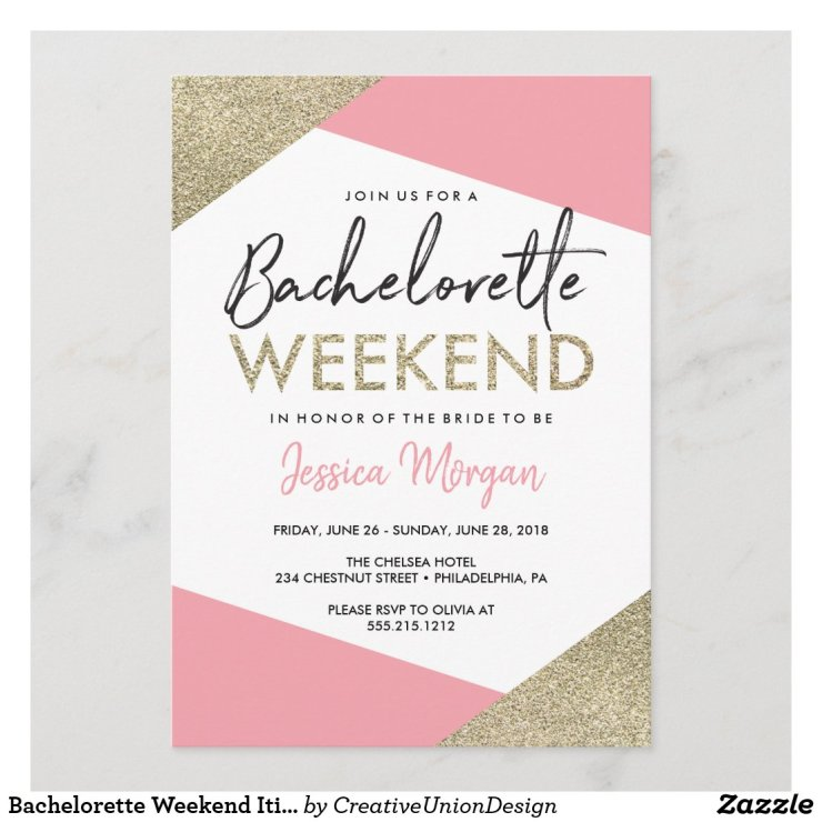 Bachelorette Weekend Itinerary Pink and Gold Program
