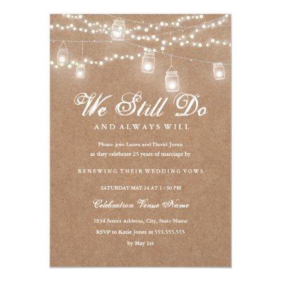 Rustic Wedding Vow Renewal Invitation Zazzle