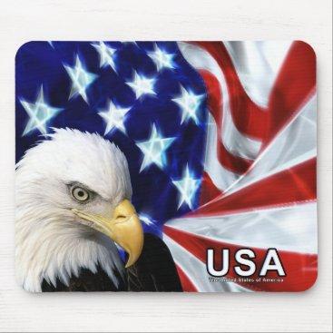 Bald Eagle USA Flag Mouse Pad
