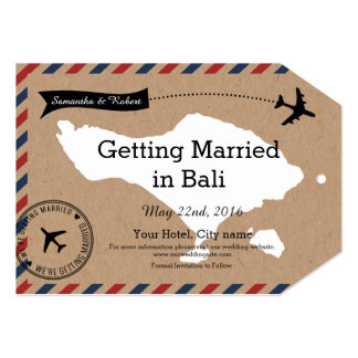 Bali Airmail Kraft Luge Save The Dates Card