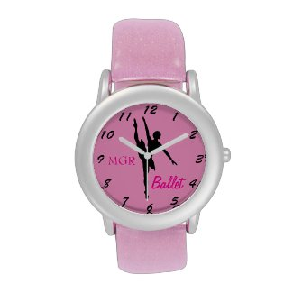 Ballet Dancer Silhouette on Pink Custom Initials Wrist Watches