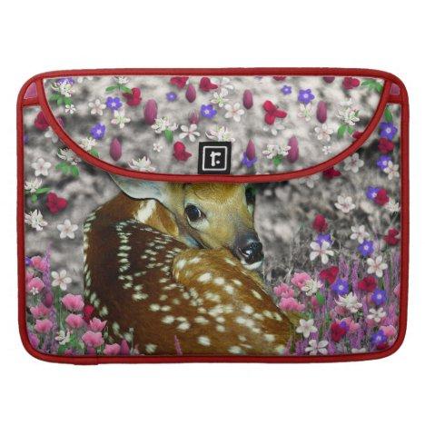 Bambina the Fawn in Flowers II MacBook Pro Sleeve
