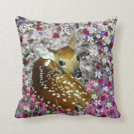 Bambina the Fawn in Flowers II Pillow