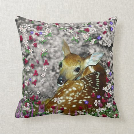 Bambina the White-Tailed Fawn in Flowers I Throw Pillow