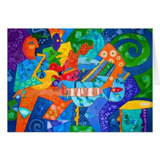 """Band Groove"" Original painting by R.A.Brown© Greeting Cards"