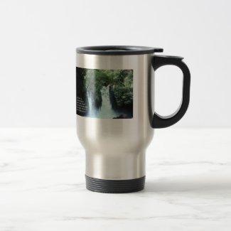 Banias Waterfall and Psalm 104:13 15 Oz Stainless Steel Travel Mug