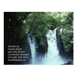 Banias Waterfall and Psalm 104:13 Postcard
