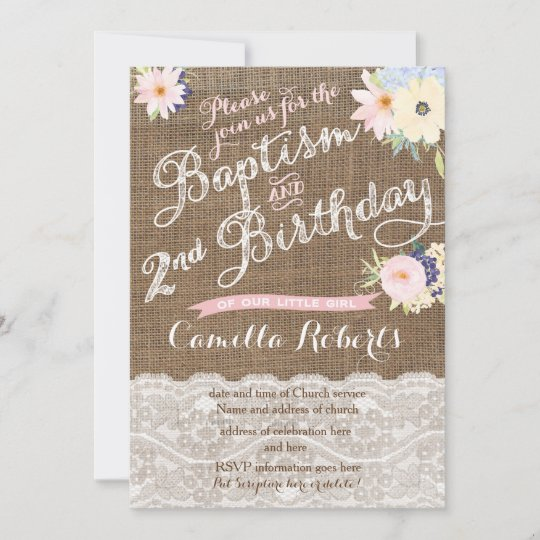 baptism and birthday invitations 2nd birthday invitation zazzle com