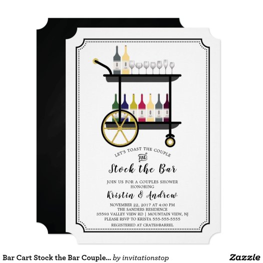 Bar Cart Stock the Bar Couples Shower Invitation
