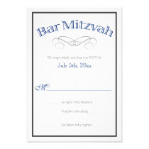 Bar Mitzvah Navy Blue Gray RSVP Reply Cards