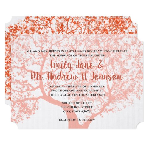 Barn or Woodland Coral Forest Typography Wedding Invitation
