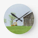 Barn Scene With Tractor Round Wallclock