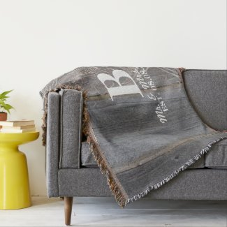 barn wood lace western country Mr and mrs Throw Blanket