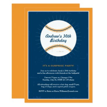Baseball Theme Birthday Invitations | Blue Orange