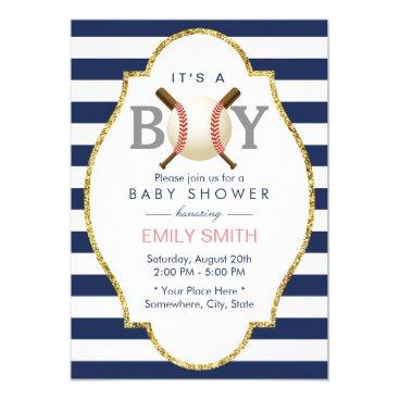 Baseball Themed Boy Navy Blue Stripes Baby Shower Invitation