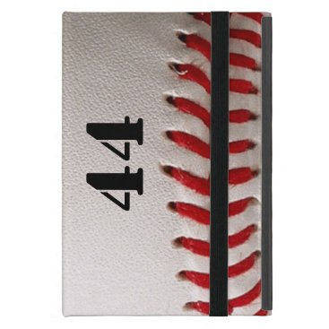 Baseball with red stitching with number iPad mini cover