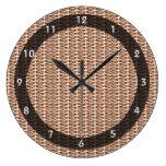 Basketweave Tan Diagonal Weave Clocks