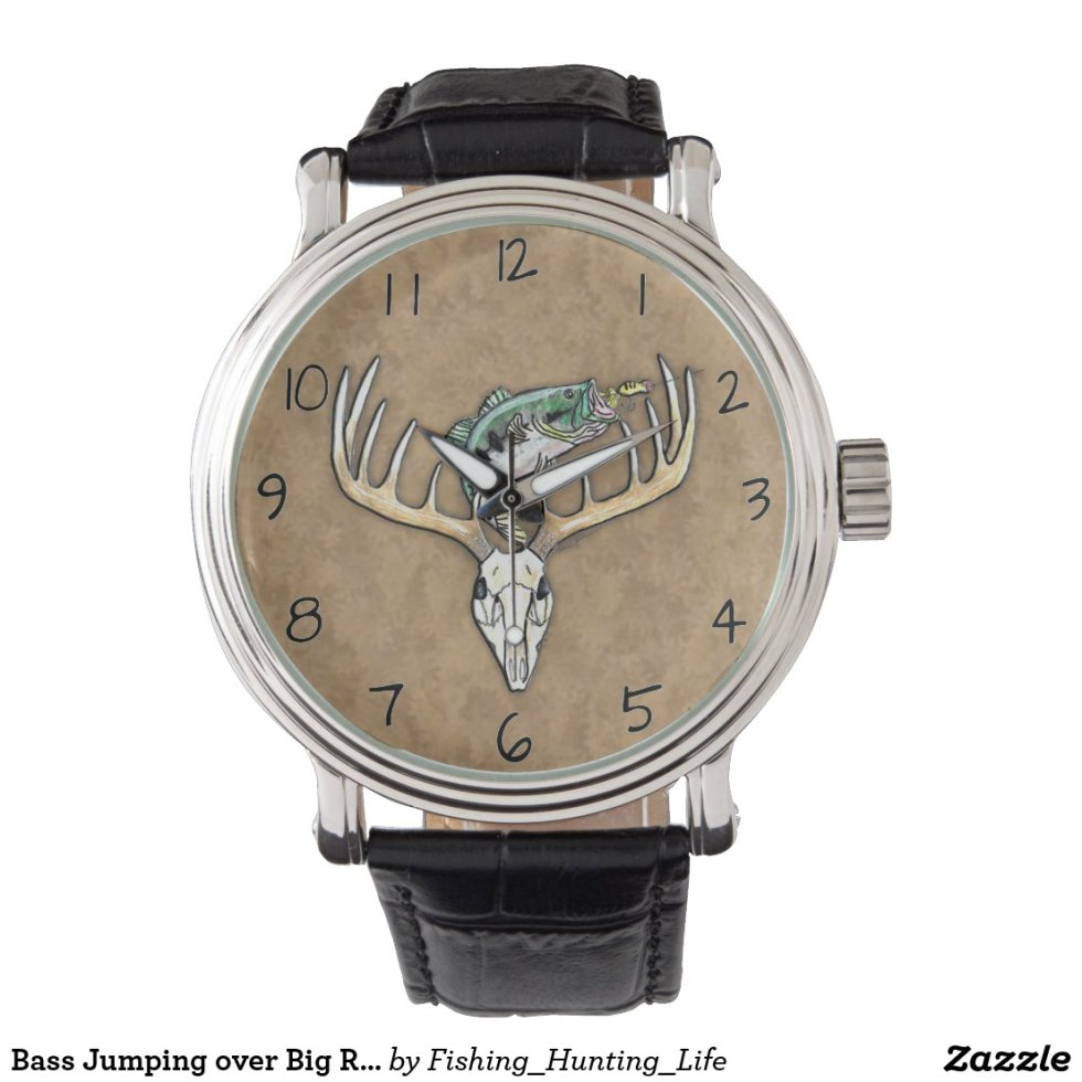 Bass Jumping over Big Rack Deer Skull Watch
