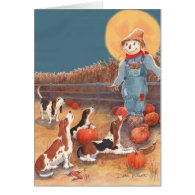 Basset Halloween Card
