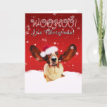 Basset Hound WhooHoo I'ts Christmas Greeting Card