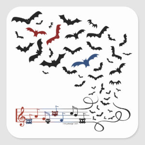 Bat Music Design 2 Square Sticker