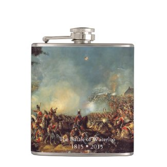 Battle of Waterloo by William Sadler Hip Flask