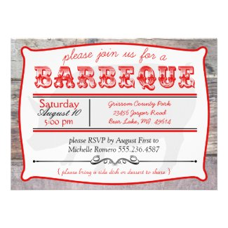 BBQ Big Pig Barbeque Party Invitations