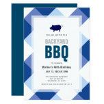 BBQ Pig Roast Navy Gingham Adult Birthday Invitation
