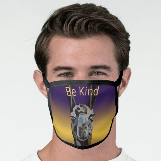 Be Kind Llama AllOver Cotton & Poly Blend Facemask Face Mask