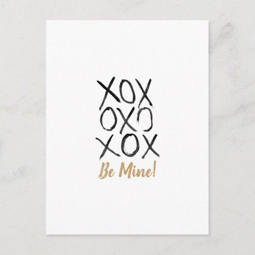 Be Mine! Hand Drawn XOXO Valentine Holiday Postcard