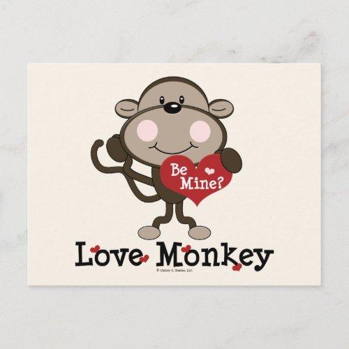 Be Mine Love Monkey Valentine's Day Postcard