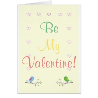 Be My Valentine! card with birds and hearts