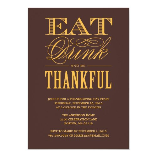 BE THANKFUL | THANKSGIVING DINNER INVITATION