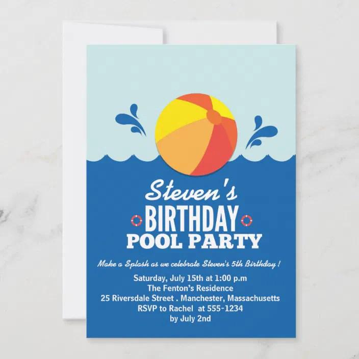 Beach Ball Beach Theme Birthday Party Invitation Zazzle Com