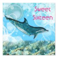 Beach birthday party tropical dolphin card