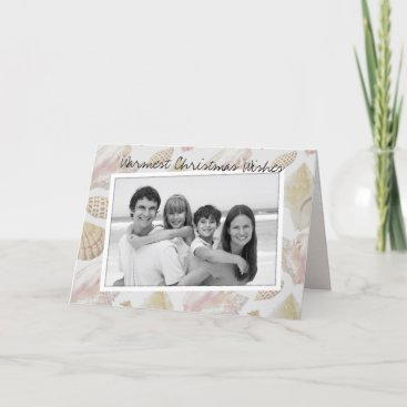 Beach Christmas Horizontal Photo Folded Holiday Card