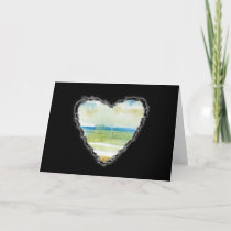 Beach Heart Valentine Love Romance Card