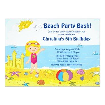 Beach Party Girl Swimming Birthday Invitation