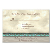 Beach RSVP Wedding Reply Card Dolphins Damask