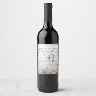 Beach Table number   Custom Wine Label