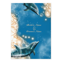 Beach theme - wedding dolphin elegant party card