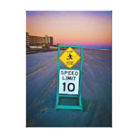 Beach Traffic Signs on Daytona Beach at Dawn II Gallery Wrapped Canvas