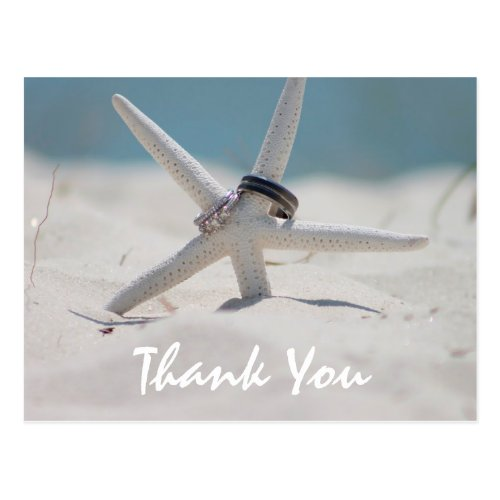 Beach Wedding Thank You note with photo Postcard